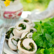 Chicken fillet rolls with fresh greens served with salad leaves — Стоковая фотография