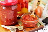 Canning Marinara sauce, tomato preserves — Stock Photo