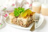 Rice, chicken liver and mushroom bake — Stock Photo