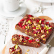 Chocolate Fudge with Glace Cherries, Pistachios and Coconut  — Stock Photo