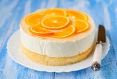 Yoghurt Mousse and Orange Cake — Stock Photo