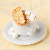 A Cup of Hot Chocolate with Pumpkin Biscotti — Stock Photo