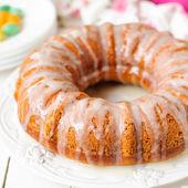 Pumpkin Bundt Cake with Sugar Icing — Stock Photo
