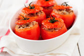Baked Tomatoes Stuffed with Rice and Beef Mince — Stock Photo