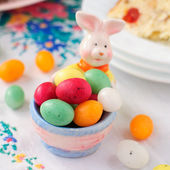Easter Bunny Egg Holder Filled with Colorful Spotted Egg-Shaped — Stock Photo