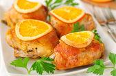 Roast Chicken with Oranges — Stock Photo