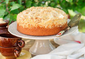 Round Streusel Fruit Cake on a Cake Stand — Stock Photo