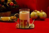 Egg nog in red — Stock Photo