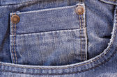 Close up of a blue jeans pocket — Stock Photo
