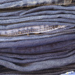 ストック写真: Close up stack of folded jeans vertical
