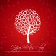Red valentine tree with hearts — Imagen vectorial