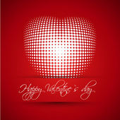 Red valentine card with ball heart — Stock Vector