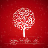Red valentine tree with hearts — Vector de stock