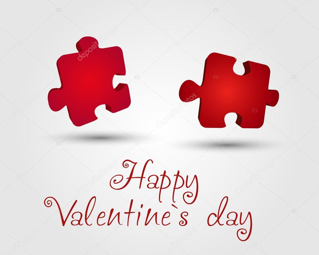 Valentine card with puzzles. valentine concept.  — Stock Vector #19331515