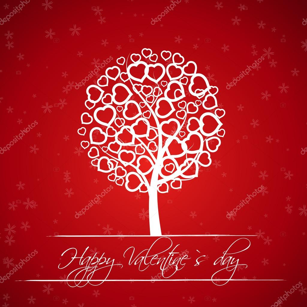 Red valentine tree with hearts. valentine concept.  — Stock Vector #19332047