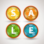 Colorful puzzle sale rings — Stock Vector