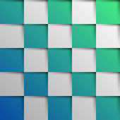 3d blue and green oblique squares in square background — Stock Vector