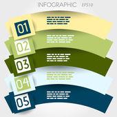 Arco linha infográfico cinco opções em grandes praças — Vetorial Stock