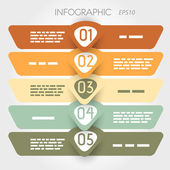 Rouned infografía cinco opciones en grandes flechas en medio — Vector de stock
