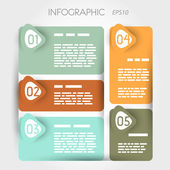 Rounded suare infographic five options with arrows — Stock Vector