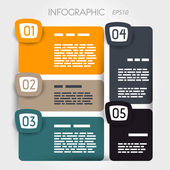 Rounded suare infographic five options with big rounded squares — Stock Vector