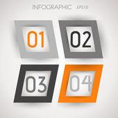 グレーとオレンジの斜めの正方形の 4 つのオプション — ストックベクタ