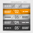 Stockvector : Orange infographic five oblique options in middle