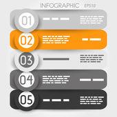 Grått och orange rundade infographic med stora ringar — Stockvektor