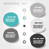 Grey and turquoise big bubble timeline infographic with rings — Stock Vector