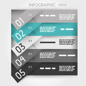 Grey and turquoise oblique infographic five oblique sticker options — Stock Vector