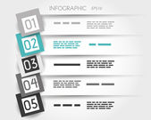 Turquoise transparent infographic 5 options with big squares — Vecteur