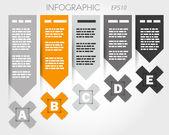 Šedé a oranžové infographic s x a štítky — Stock vektor