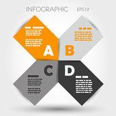 Yuvarlak turuncu ve gri Infographic kareler abcd — Stok Vektör