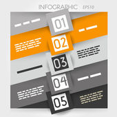 Naranja oblicua línea infografía cinco opciones con plazas en medio — Vector de stock