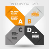 Orange and grey sharp infographic x with letters — Stok Vektör