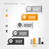 Orange and grey infographic labels with graph — Stock Vector