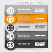 Büyük yüzük turuncu Infographic beş seçenekleri — Stok Vektör