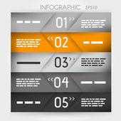 Orange infographic five oblique options in middle — Stock Vector