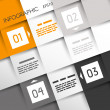 Orange Quadrat Infographik vier Optionsin Ecken — Stockvektor