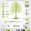 Stock Vector: Green ecological infographics with tree