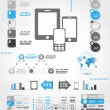 Blue mobile phone world infographics - Stock Vector