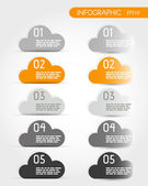 Orange five infographic options with clouds — Stockvektor