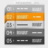 Orange infographic five options notebook — Stock Vector