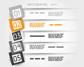 Orange transparent infographic 5 options with big squares — Vecteur