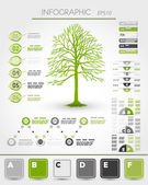 Green ecological infographics with tree — Vecteur