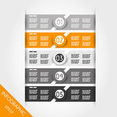 Orange and grey infographic labels with rings — Stock Vector