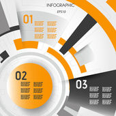 Orange abstract technical infographic layout with rings — Stock Vector