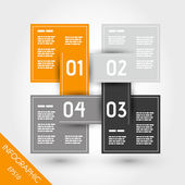 Orange infographic four linked squares — Stock Vector