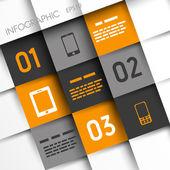 Quadrados de laranja e cinza infográfico com ícones móveis — Vetor de Stock