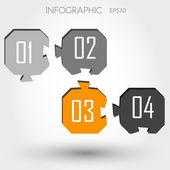 Four orange angular infographic puzzle — Stock Vector
